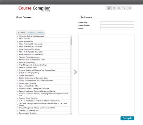 Screenshot of the velsoft course compiler